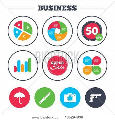 Business pie chart. Growth graph. Gun weapon icon.Knife, umbrella and photo camera signs. Edged hunting equipment. Prohibition objects. Super sale and discount buttons. Vector