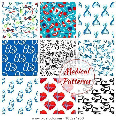 Medical seamless patterns set of of medicines and medication items heart pulse, DNA helix and syringe, thermometer, dentistry items tooth paste, brush and apple, pills and drugs, apple and doctor stethoscope, ambulance Hippocratic snake and bowl