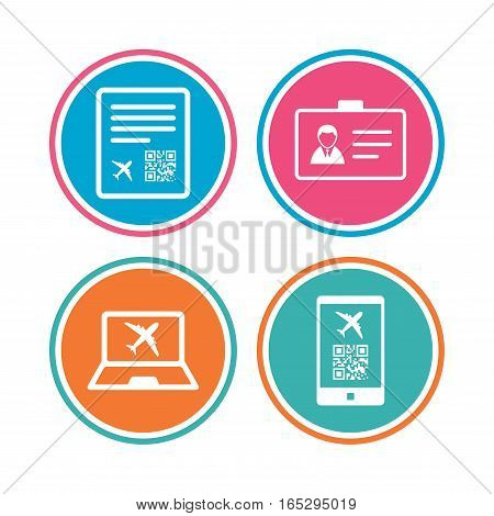 QR scan code in smartphone icon. Boarding pass flight sign. Identity ID card badge symbol. Colored circle buttons. Vector