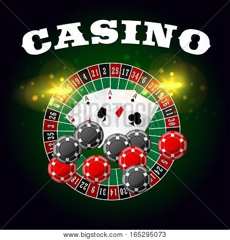 Wheel of fortune casino vector poster with lucky numbers on bet roulette, gambling chips and poker game cards of aces with spades, hearts, diamonds and clubs suits with gold glittering light