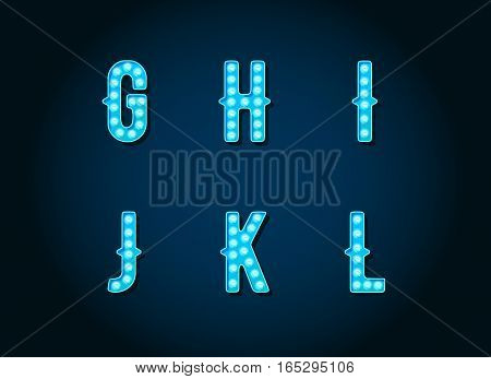 Casino or Broadway Signs style Blue light bulb Alphabet Letter Character in Vector Set