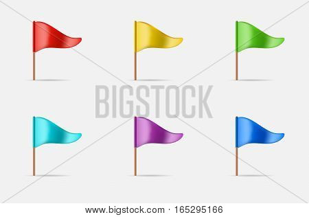 Triangular Waving Flag Set Icon or Logo in Vector.