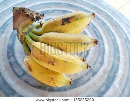 Close up picture of Pisang Awak banana on the table
