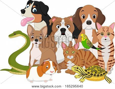 Vector illustration of Group of pets cartoon