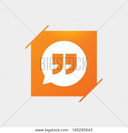 Quote sign icon. Quotation mark in speech bubble symbol. Double quotes. Orange square label on pattern. Vector