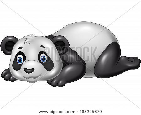 Vector illustration of Cartoon funny panda lying down