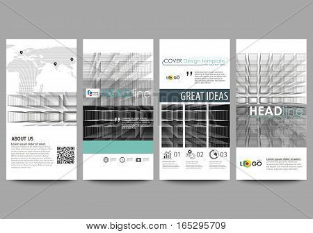 Flyers set, modern banners. Business templates. Cover design template, easy editable abstract vector layouts. Abstract infinity background, 3d structure with rectangles forming illusion of depth and perspective.