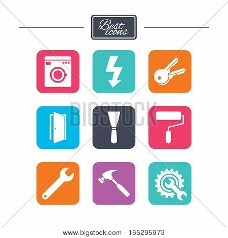 Repair, construction icons. Electricity, keys and hammer signs. Door, washing machine and service symbols. Colorful flat square buttons with icons. Vector