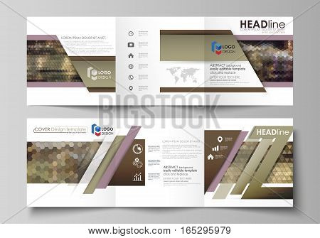 Set of business templates for tri fold square design brochures. Leaflet cover, abstract flat layout, easy editable vector. Abstract multicolored backgrounds. Geometrical patterns. Triangular and hexagonal style.