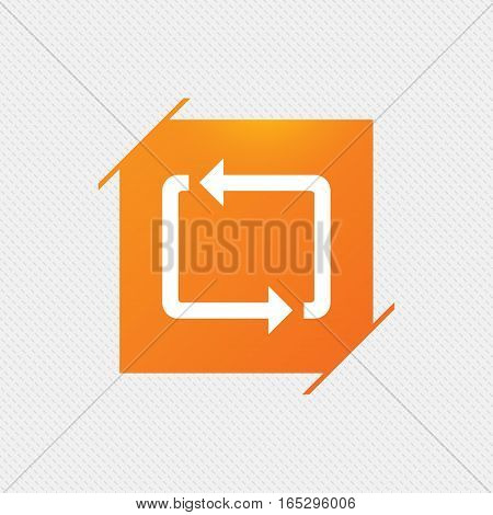 Repeat icon. Loop symbol. Refresh sign. Orange square label on pattern. Vector