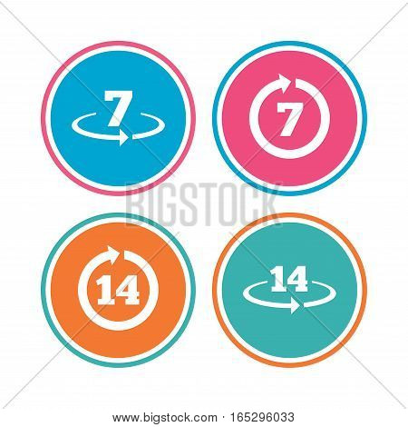 Return of goods within 7 or 14 days icons. Warranty 2 weeks exchange symbols. Colored circle buttons. Vector