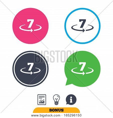 Return of goods within 7 days sign icon. Warranty exchange symbol. Report document, information sign and light bulb icons. Vector