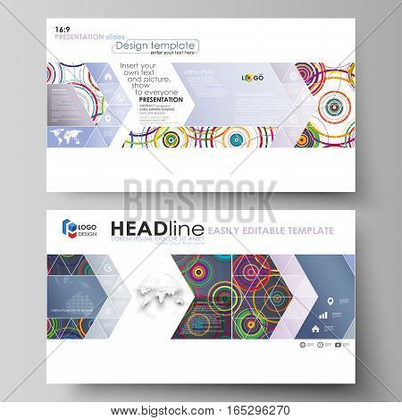 Business templates in HD format for presentation slides. Easy editable abstract vector layouts in flat design. Bright color background in minimalist style made from colorful circles