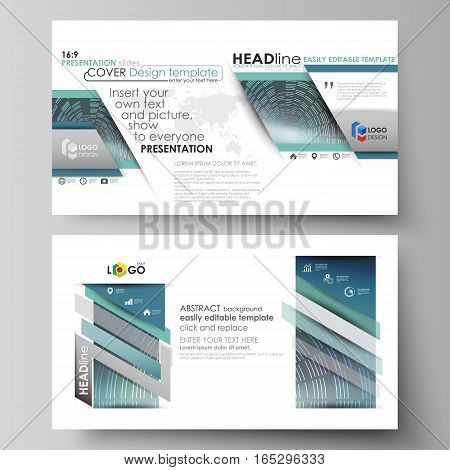Business templates in HD format for presentation slides. Easy editable abstract vector layouts in flat design. Technology background in geometric style made from circles