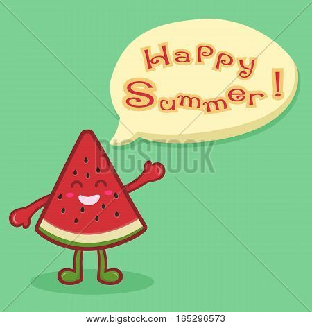 Cute Watermelon Fruit Slice Mascot Happy Summer Greeting Card Vector illustration