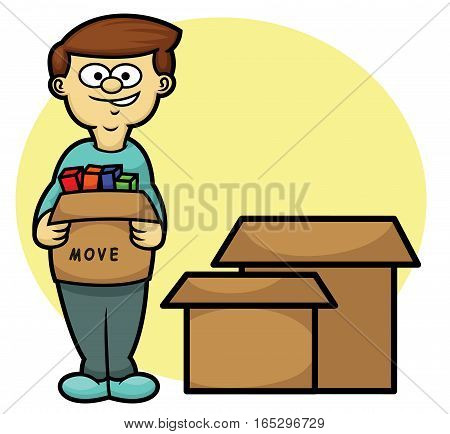 Man Carrying Box Moving House Theme Cartoon Illustration