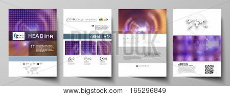Business templates for brochure, magazine, flyer, booklet or annual report. Cover design template, easy editable vector, abstract flat layout in A4 size. Bright color colorful design, beautiful futuristic background.