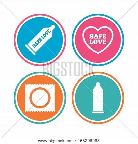 Safe sex love icons. Condom in package symbol. Fertilization or insemination. Heart sign. Colored circle buttons. Vector