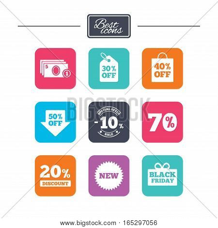 Sale discounts icon. Shopping, black friday and cash money signs. 10, 20, 50 and 70 percent off. Special offer symbols. Colorful flat square buttons with icons. Vector