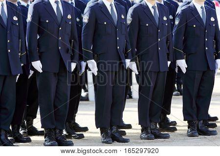 KAGAWA, JAPAN - JANUARY 6: Japanese police officers stand in a row, Sietusiki ceremony. January 6, 2017 in Kagawa, Japan.