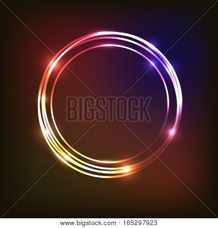 Abstract neon background with circles, stock vector