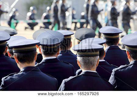 KAGAWA, JAPAN - JANUARY 6: Back view of Japanese police officers, Sietusiki ceremony. January 6, 2017 in Kagawa, Japan.
