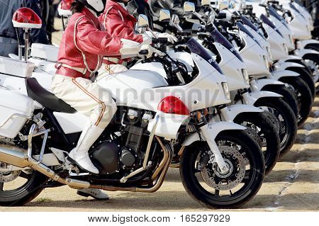 KAGAWA, JAPAN - JANUARY 6: Japanese police officers, motorcycle participate in the parade in the Sietusiki-ceremony. January 6, 2017 in Kagawa, Japan.