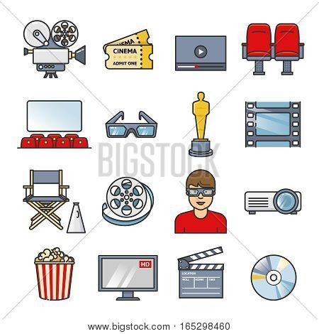 Movies element set. Cinema icons collection. Outline flat