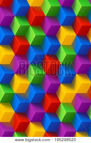 illustration of different color cubes with shadows background