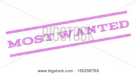 Most Wanted watermark stamp. Text tag between parallel lines with grunge design style. Rubber seal stamp with scratched texture. Vector violet color ink imprint on a white background.