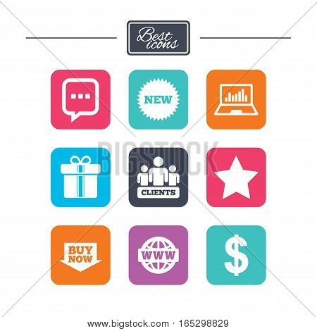 Online shopping, e-commerce and business icons. Gift box, chat message and star signs. Chart, dollar and clients symbols. Colorful flat square buttons with icons. Vector