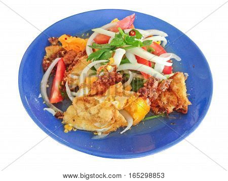 Spicy salad with fried eggs, Thai Spicy Food, Thai Cuisine, Healthy Thai Food on white background