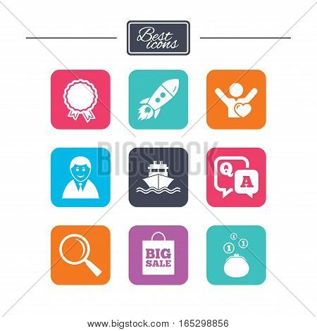 Online shopping, e-commerce and business icons. Startup, award and customers like signs. Cash money, shipment and sale symbols. Colorful flat square buttons with icons. Vector