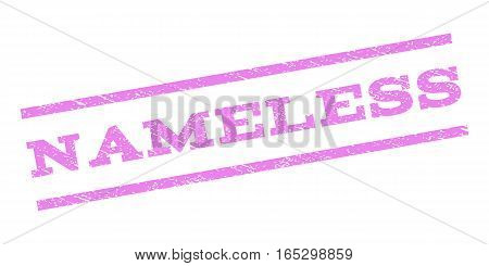 Nameless watermark stamp. Text tag between parallel lines with grunge design style. Rubber seal stamp with unclean texture. Vector violet color ink imprint on a white background.