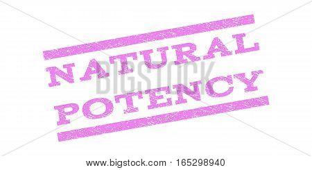 Natural Potency watermark stamp. Text tag between parallel lines with grunge design style. Rubber seal stamp with unclean texture. Vector violet color ink imprint on a white background.
