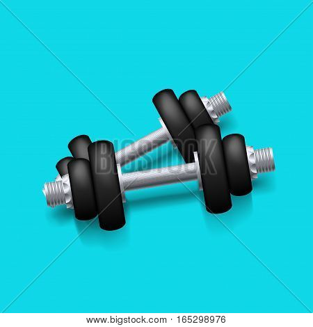 illustration of realistic black iron dumbbels with shadow on blue background