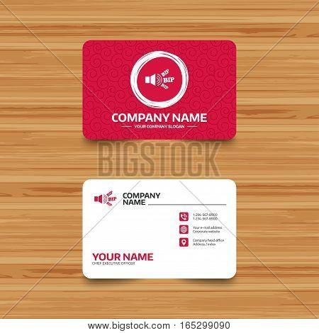 Business card template with texture. Speaker volume icon. Sound with BIP symbol. Loud signal. Phone, web and location icons. Visiting card  Vector