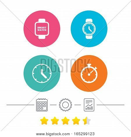 Smart watch icons. Mechanical clock time, Stopwatch timer symbols. Wrist digital watch sign. Calendar, cogwheel and report linear icons. Star vote ranking. Vector