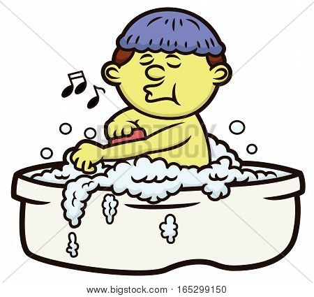 Man Having Bubble Bath While Whistling Cartoon Illustration