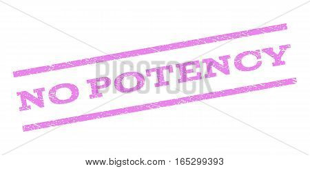 No Potency watermark stamp. Text tag between parallel lines with grunge design style. Rubber seal stamp with unclean texture. Vector violet color ink imprint on a white background.