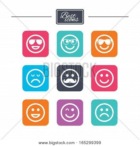 Smile icons. Happy, sad and wink faces signs. Sunglasses, mustache and laughing lol smiley symbols. Colorful flat square buttons with icons. Vector