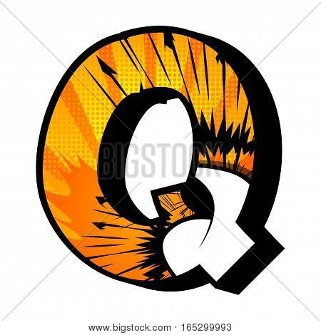 Letter Q filled with comic book explosion background.