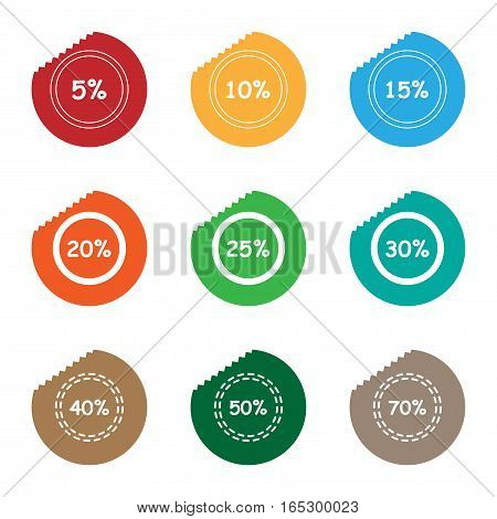 percent sale tear sticker label set,vector Illustration EPS10