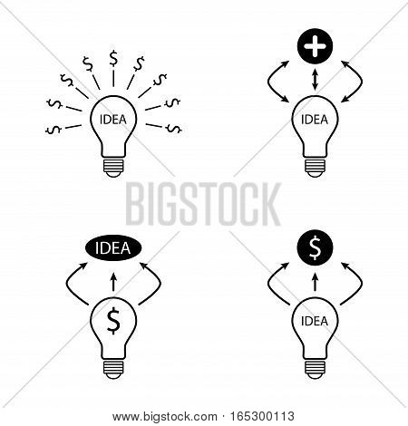 bulb idea dollar and plus sign icons set,vector Illustration EPS10