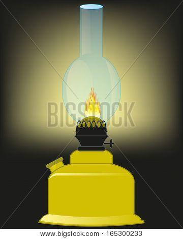 Lamp working at kerosine illuminates premises in the dark