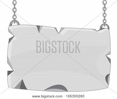 Stone plate on chain on white background is insulated