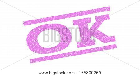 Ok watermark stamp. Text tag between parallel lines with grunge design style. Rubber seal stamp with scratched texture. Vector violet color ink imprint on a white background.