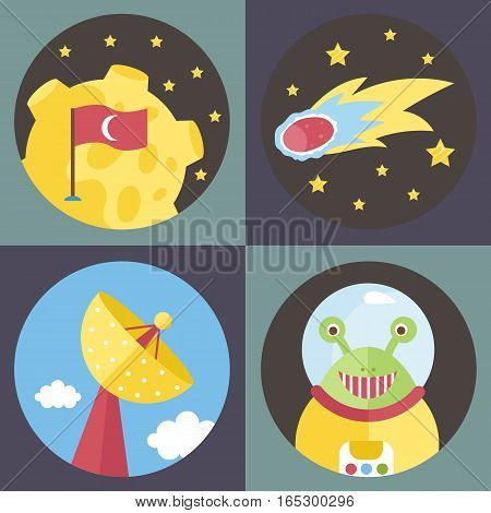 Space objects cartoon icons. Moon with Turkey flag, fiery comet, parabolic antenna, smiling alien in spacesuit vector illustrations on violet and grey background.