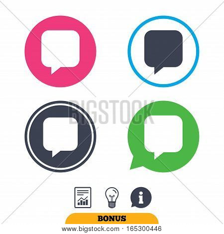 Chat sign icon. Speech bubble symbol. Communication chat bubbles. Report document, information sign and light bulb icons. Vector