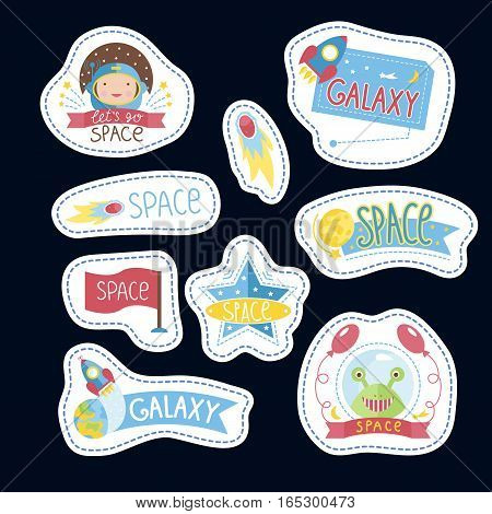 Space cartoon stickers with text. Astronaut, spaceship flying from Earth, flag, smiling alien in spacesuit vector illustrations isolated on black background. Counters for table games, price tags